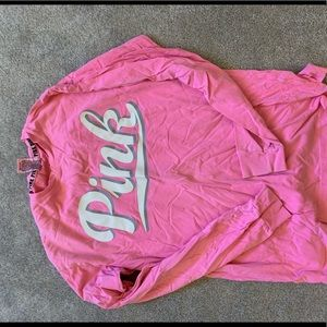 Pink over sized long sleeve shirt